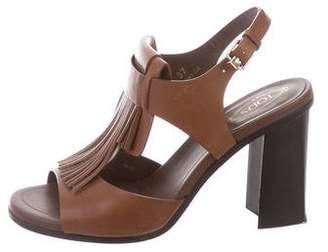 Tod's Ankle Strap Fringe-Trimmed Sandals