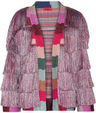Missoni Fringed Metallic Knitted Jacket - Lilac