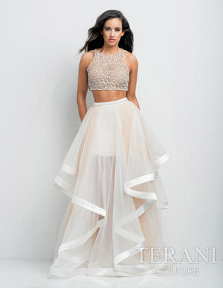 Terani Prom - Beaded Crop Top and Ruffled Mesh Skirt Long Gown Ensemble 151P0102A $415 thestylecure.com