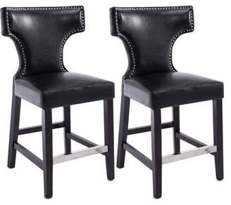 CorLiving Kings Counter Height Barstool with Metal Studs, Set of 2