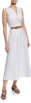 Lafayette 148 New York Janelle Sleeveless Belted Stretch-Cotton Midi Dress