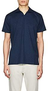 Barneys New York MEN'S COTTON JOHNNY-COLLAR POLO SHIRT-NAVY SIZE S