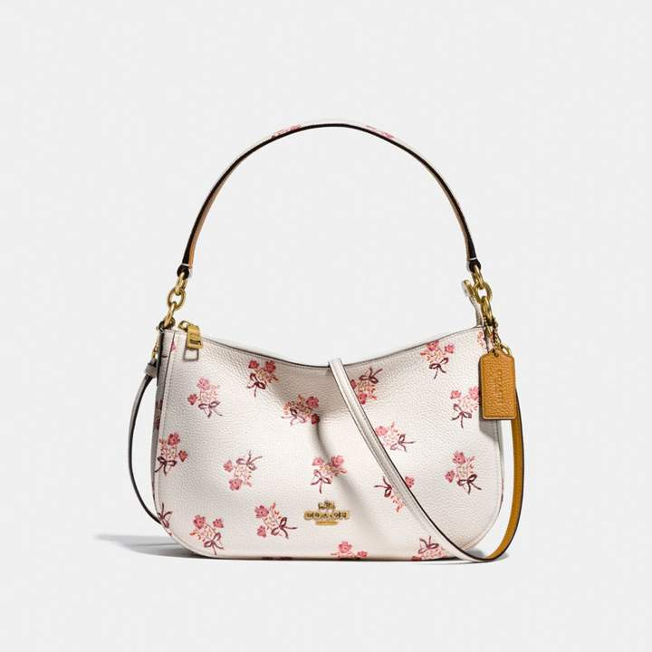 Coach Chelsea Crossbody With Floral Bow Print - CHALK/BRASS - STYLE