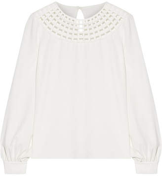 Oscar de la Renta Cutout Stretch-silk Top - Ivory