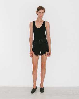 Alexanderwang.T Black Fade Destroy Bite Side Zip Denim Shorts
