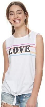 "Grayson Threads Juniors' Love"" Striped Tie-Front Tank"