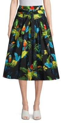 Marc Jacobs Parrot-Print Belted Midi Skirt