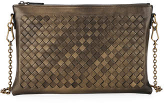 Bottega Veneta Woven Leather Zip-Top Pouch Crossbody Bag