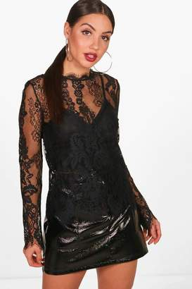 boohoo Lilly Eyelash Lace Top