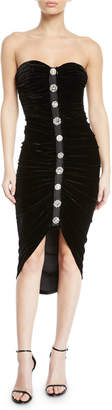 Veronica Beard Palo Strapless Ruched Velvet Button-Front Cocktail Dress