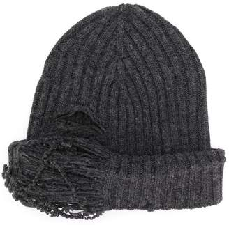 Maison Margiela distressed rib knit beanie
