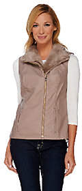 Moto Dennis Basso Faux Leather Vest with FauxFur Collar
