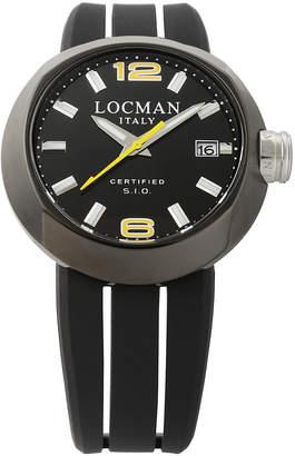 Locman (ロックマン) - LOCMAN ラウンドウォッチ デイト表示 取替ベルト付 ケース:ブラック ベルト:ブラック、イエロー