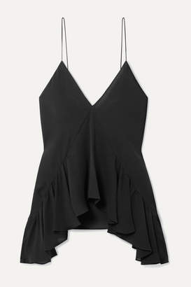 Michael Kors Asymmetric Ruffled Silk-georgette Top - Black