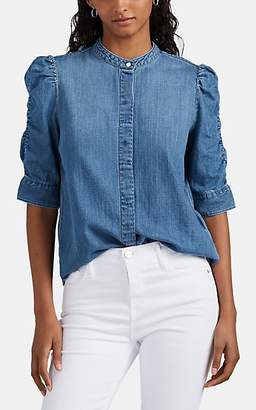 Frame Women's Puff-Sleeve Chambray Blouse - Blue