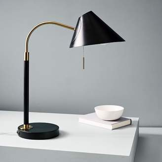west elm Mid-Century Task Table Lamp + USB - Black