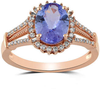 FINE JEWELRY Womens 1/4 CT. T.W. Genuine Blue Tanzanite 10K Rose Gold Cocktail Ring