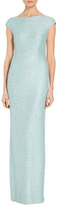 St. John Glitter Sequin Knit Cap Sleeve Gown