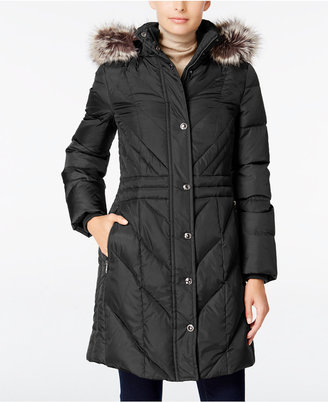 London Fog Faux-Fur-Trim Hooded Puffer Coat $245 thestylecure.com