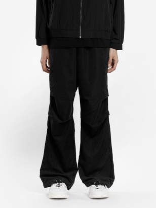 032c BLACK CARGO PANTS WITH BACK FLAP POCKETS AND DRAWSTRINGS