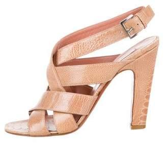 Alaia Alligator Ankle Strap Sandals