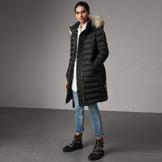Burberry Detachable Fur Trim Down-filled Puffer Coat with Hood