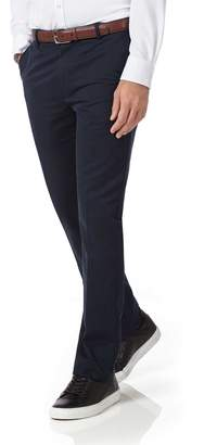 Charles Tyrwhitt Navy Extra Slim Fit Flat Front Non-Iron Cotton Chino Trousers Size W34 L30