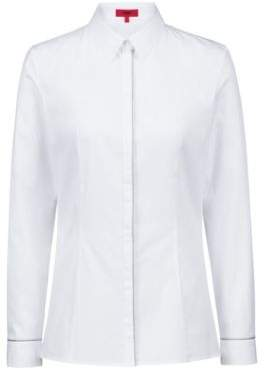 HUGO Boss Slim-fit blouse in stretch cotton silver trims 4 Open White