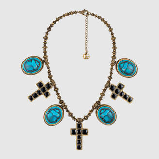Gucci Necklace with cameo and cross pendants