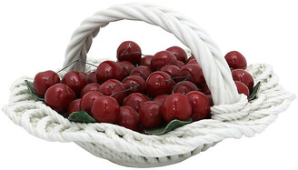 One Kings Lane Vintage Italian Ceramic Basket of Cherries - Rose Victoria