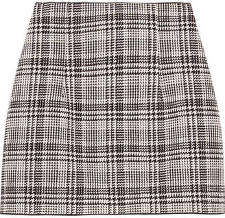 Checked Tweed Mini Skirt - Gray