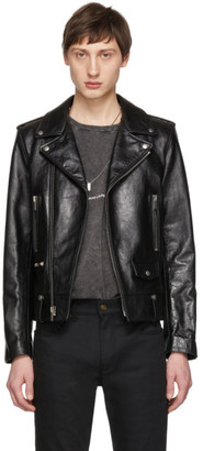 Saint Laurent Black Leather Stars Classic Moto Jacket