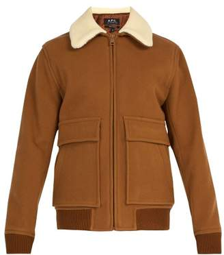 A.P.C. Bronze Faux Shearling Trimmed Wool Blend Jacket - Mens - Brown