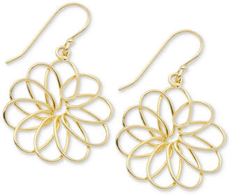 Essentials Medium Openwork Flower Drop Earrings in Gold-Plate