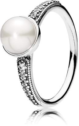 Pandora Elegant Beauty Ring, White Pearl & Clear CZ, 8.5 US, 191018P-58