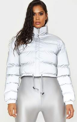 PrettyLittleThing Grey Reflective Puffer Jacket