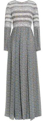 Mikael Aghal Lace-trimmed Floral-print Georgette Gown
