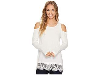 Tribal Cold Shoulder Top w/ Lace Trim and Lace Back Detail Women's Long Sleeve Pullover