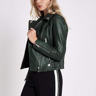 River Island Dark green leather biker jacket