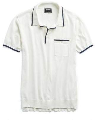 Todd Snyder Italian Silk/Cotton Tipped Knit Polo in White