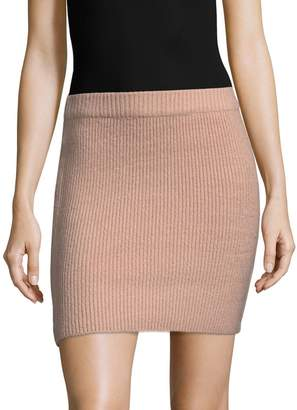 Lucca Couture Women's Ribbed Fitted Mini Skirt
