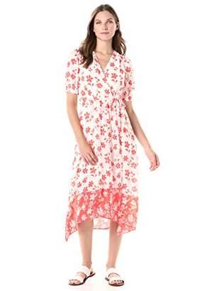 Gabby Skye Women's V-Neck Short Sleeve Printed Sheer Wrap Dress