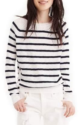 J.Crew Vivian Stripe Crewneck Side Button Sweater