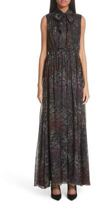 Co Floral Print Tie Neck Silk Dress