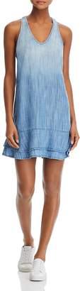 Bella Dahl Chambray Side-Stripe Racerback Dress