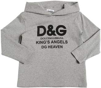 Dolce & Gabbana Hooded Logo Print Cotton Jersey T-Shirt
