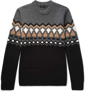 Theory Rueda Fair Isle Merino Wool Sweater - Gray