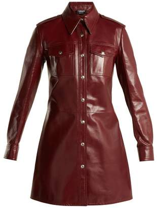 Calvin Klein Leather Button Through Shirtdress - Womens - Burgundy