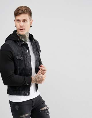 New Look Denim Jacket With Jersey Sleeves In Black