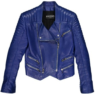 Balmain Blue Leather Jackets